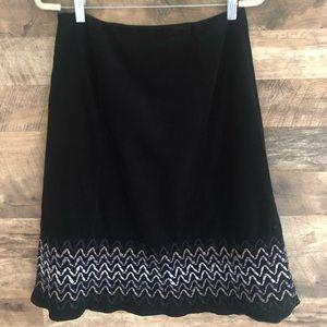 6 Boden Black Cord Ribbon Trim Hem A-line Skirt